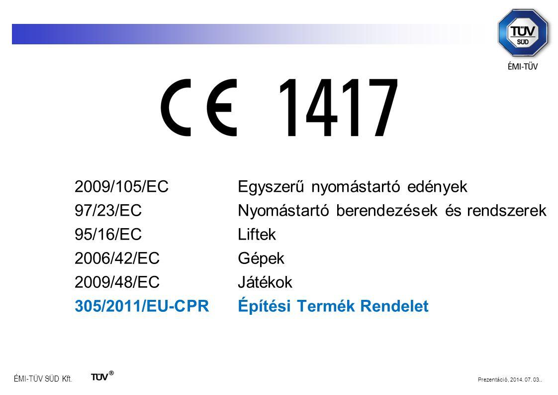 97/23/EC Nyomástartó berendezések és rendszerek 95/16/EC Liftek