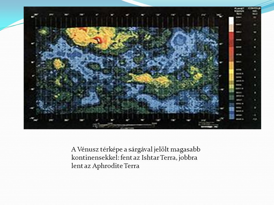 A Vénusz térképe a sárgával jelölt magasabb kontinensekkel: fent az Ishtar Terra, jobbra lent az Aphrodite Terra