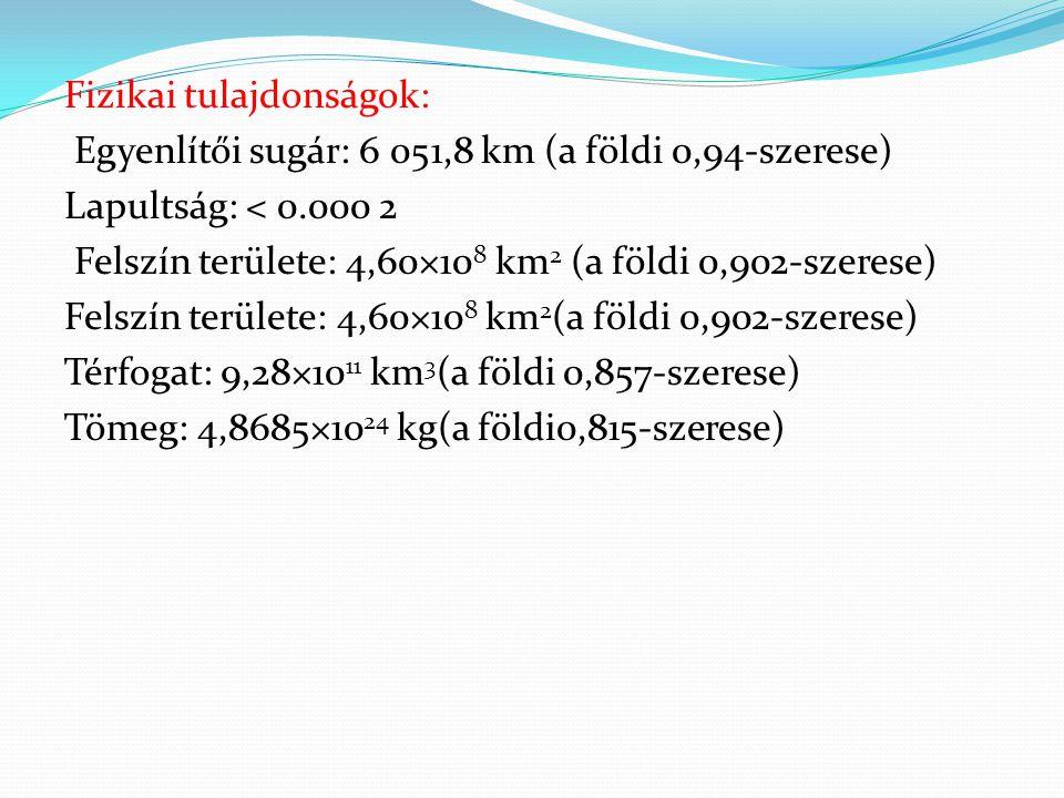 Fizikai tulajdonságok: Egyenlítői sugár: 6 051,8 km (a földi 0,94-szerese) Lapultság: < 0.000 2 Felszín területe: 4,60×108 km2 (a földi 0,902-szerese) Felszín területe: 4,60×108 km2(a földi 0,902-szerese) Térfogat: 9,28×1011 km3(a földi 0,857-szerese) Tömeg: 4,8685×1024 kg(a földi0,815-szerese)