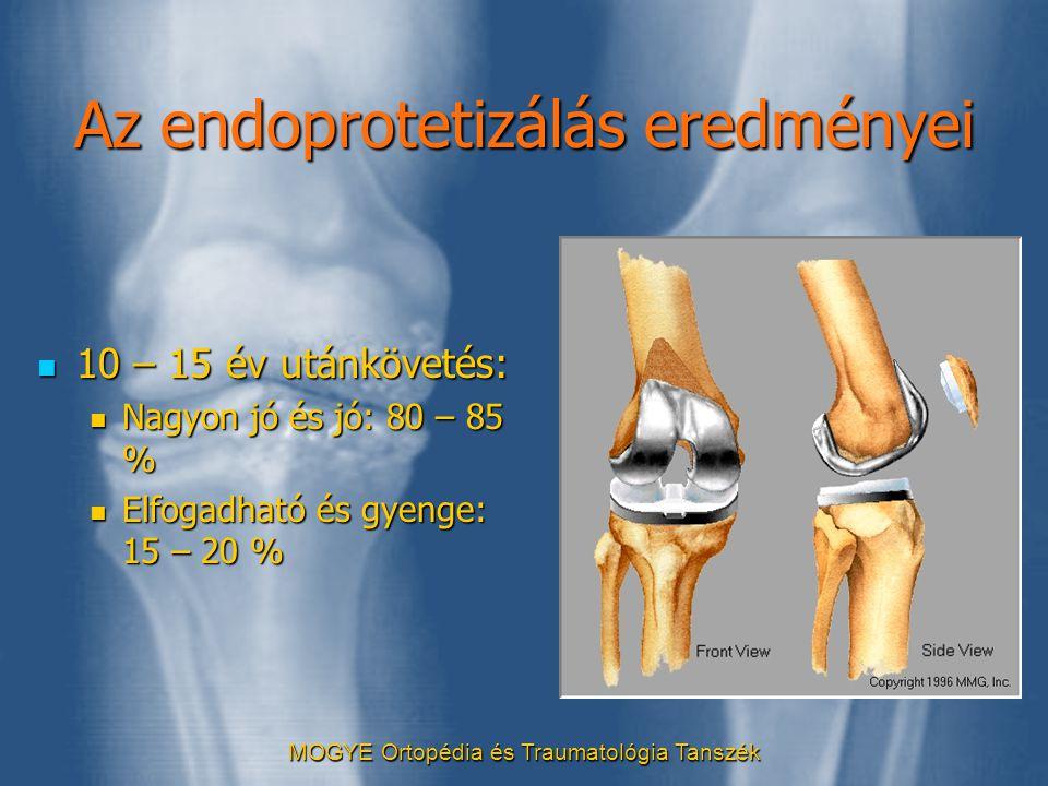 Az endoprotetizálás eredményei