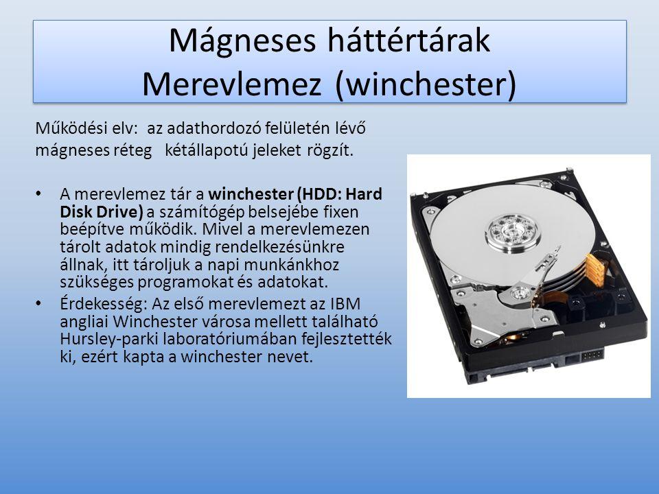 Mágneses háttértárak Merevlemez (winchester)
