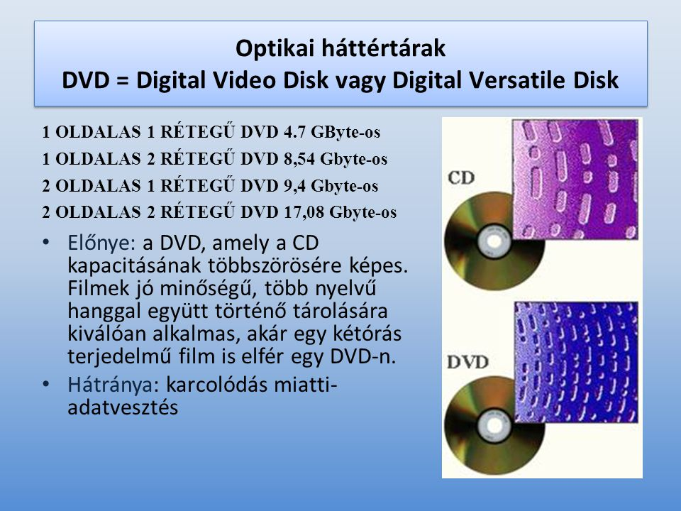 Optikai háttértárak DVD = Digital Video Disk vagy Digital Versatile Disk