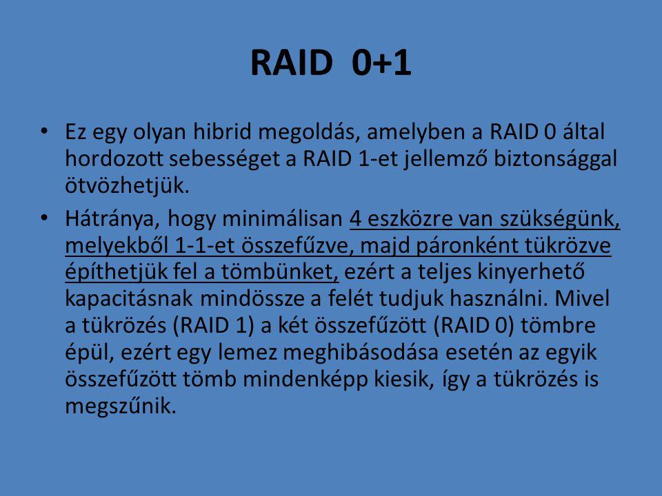 RAID 0+1 Ez egy olyan hibrid megoldás, amelyben a RAID 0 által hordozott sebességet a RAID 1-et jellemző biztonsággal ötvözhetjük.