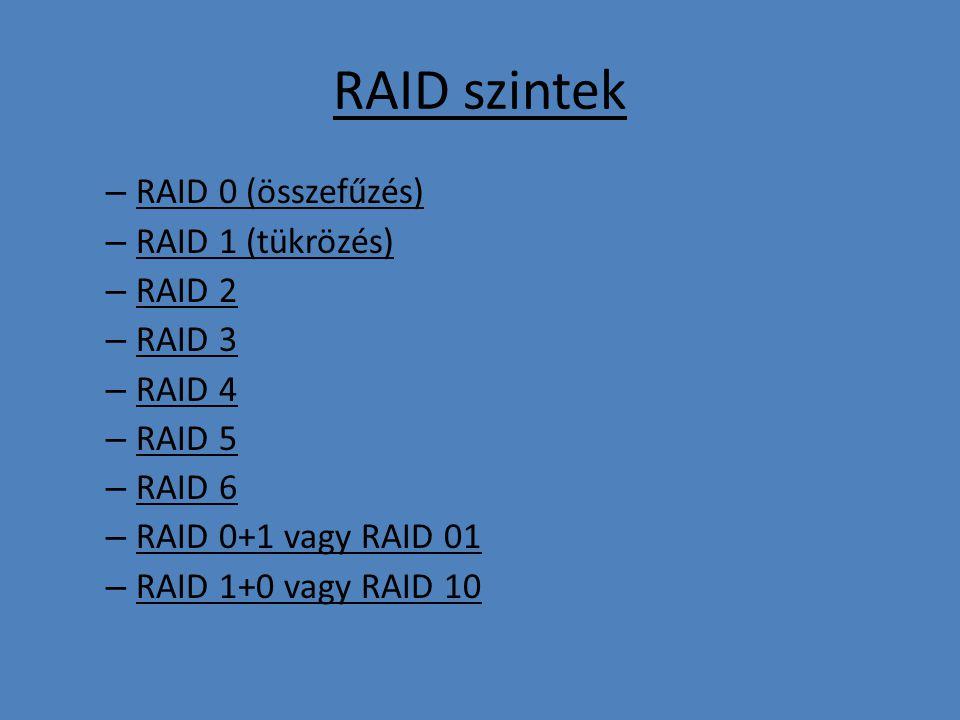 RAID szintek RAID 0 (összefűzés) RAID 1 (tükrözés) RAID 2 RAID 3