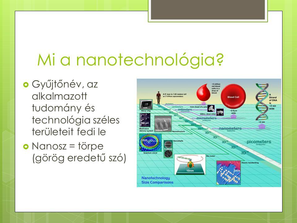 Mi a nanotechnológia. Gyűjtőnév, az alkalmazott tudomány és technológia széles területeit fedi le.