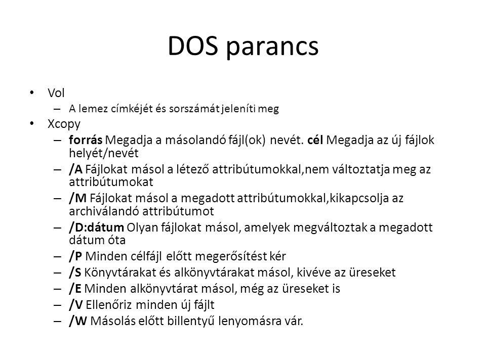 DOS parancs Vol. A lemez címkéjét és sorszámát jeleníti meg. Xcopy.