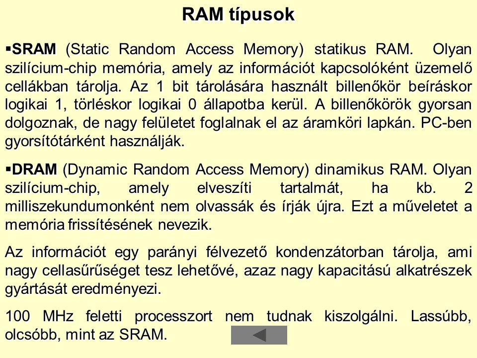 RAM típusok