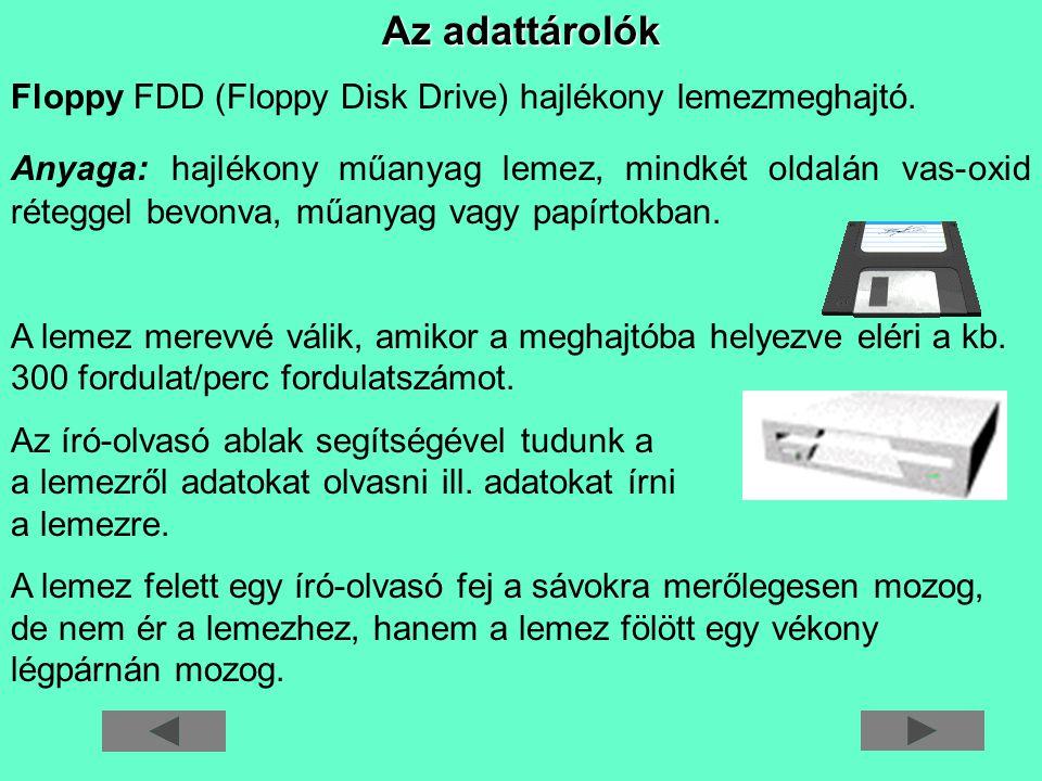 Az adattárolók Floppy FDD (Floppy Disk Drive) hajlékony lemezmeghajtó.