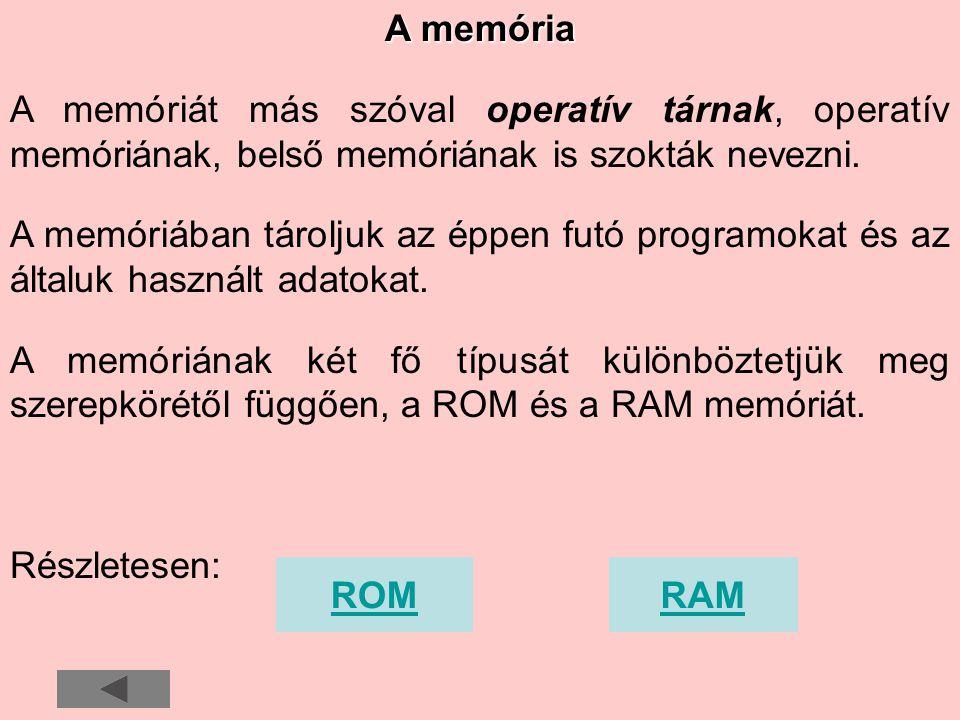 A memória A memóriát más szóval operatív tárnak, operatív memóriának, belső memóriának is szokták nevezni.