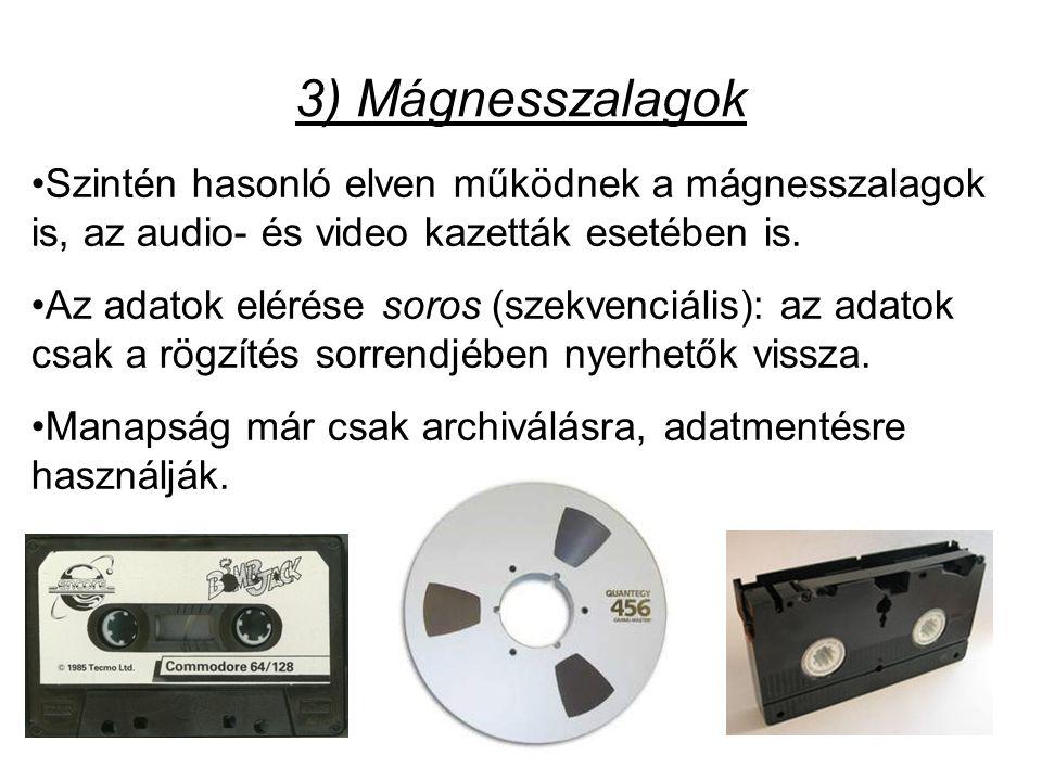 3) Mágnesszalagok Szintén hasonló elven működnek a mágnesszalagok is, az audio- és video kazetták esetében is.