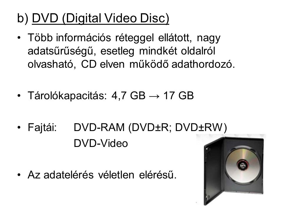 b) DVD (Digital Video Disc)
