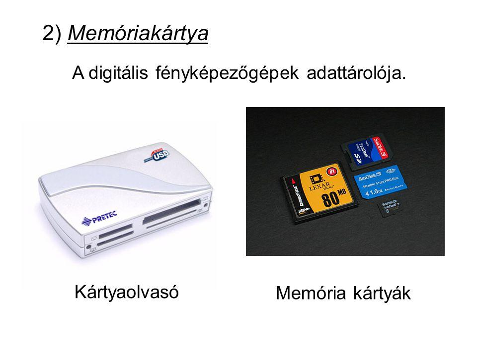 A digitális fényképezőgépek adattárolója.