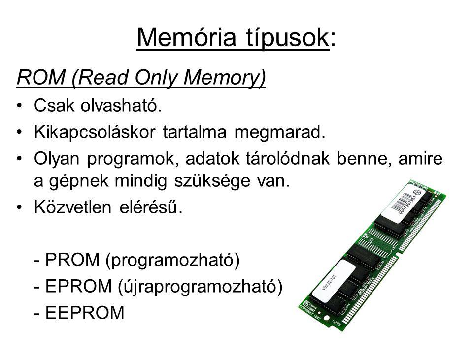Memória típusok: ROM (Read Only Memory) Csak olvasható.