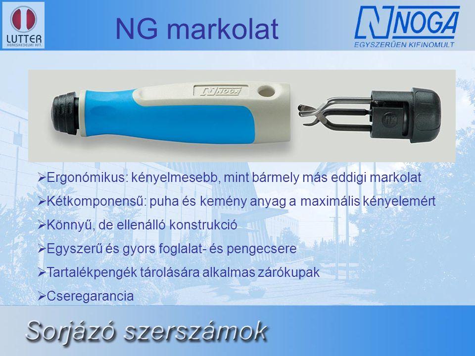 NG markolat Ergonómikus: kényelmesebb, mint bármely más eddigi markolat. Kétkomponensű: puha és kemény anyag a maximális kényelemért.