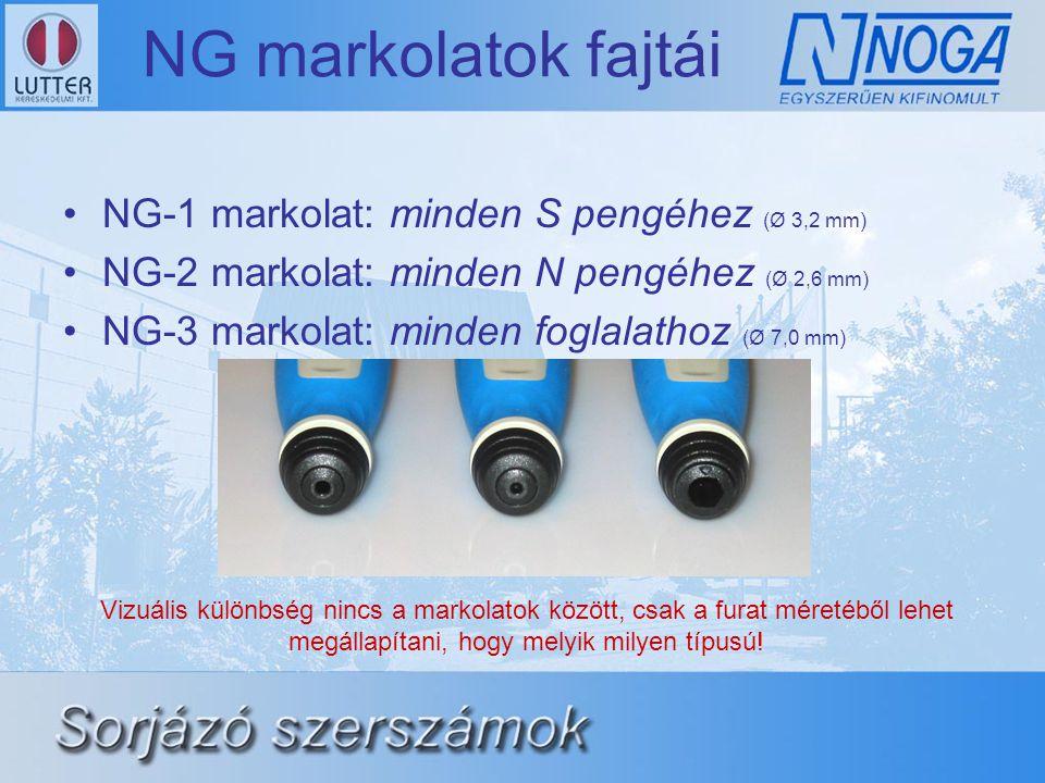 NG markolatok fajtái NG-1 markolat: minden S pengéhez (Ø 3,2 mm)