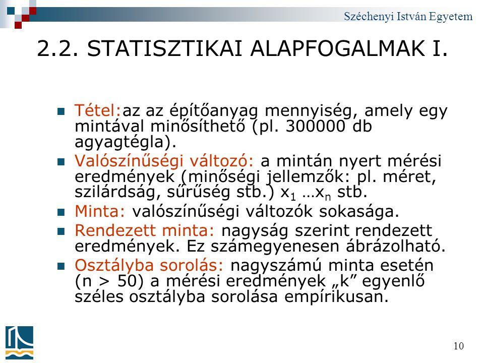 2.2. STATISZTIKAI ALAPFOGALMAK I.