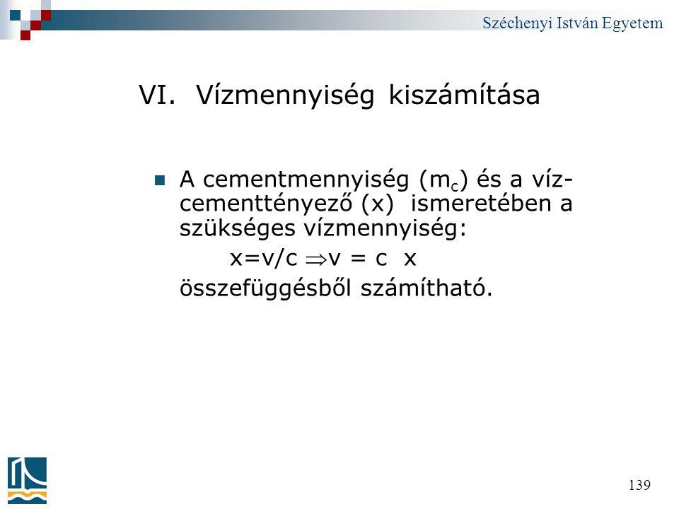 VI. Vízmennyiség kiszámítása