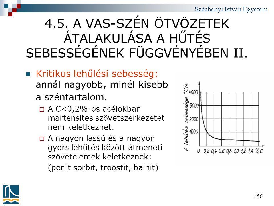 4.5. A VAS-SZÉN ÖTVÖZETEK ÁTALAKULÁSA A HŰTÉS SEBESSÉGÉNEK FÜGGVÉNYÉBEN II.