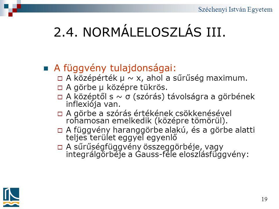 2.4. NORMÁLELOSZLÁS III. A függvény tulajdonságai: