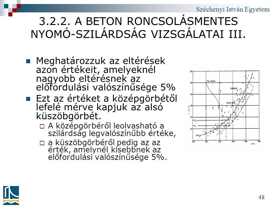 3.2.2. A BETON RONCSOLÁSMENTES NYOMÓ-SZILÁRDSÁG VIZSGÁLATAI III.