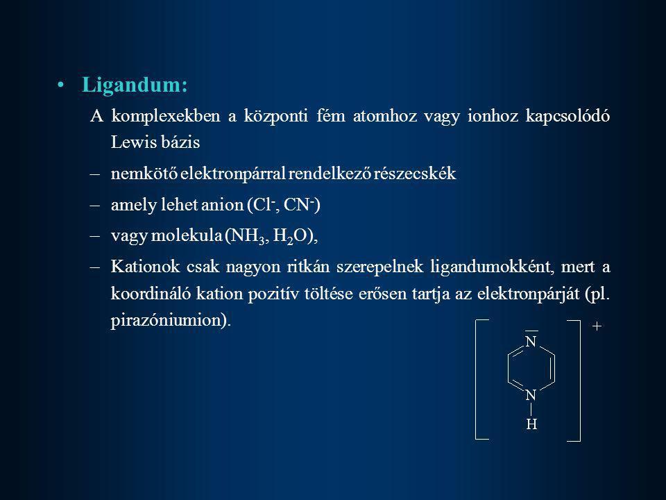 Ligandum: A komplexekben a központi fém atomhoz vagy ionhoz kapcsolódó Lewis bázis. nemkötő elektronpárral rendelkező részecskék.