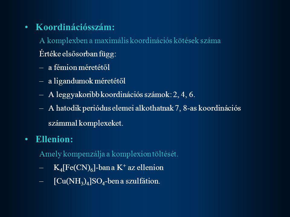 Koordinációsszám: Ellenion: