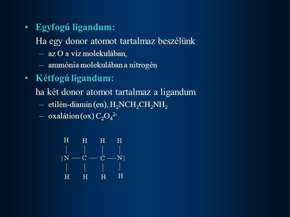 Ha egy donor atomot tartalmaz beszélünk