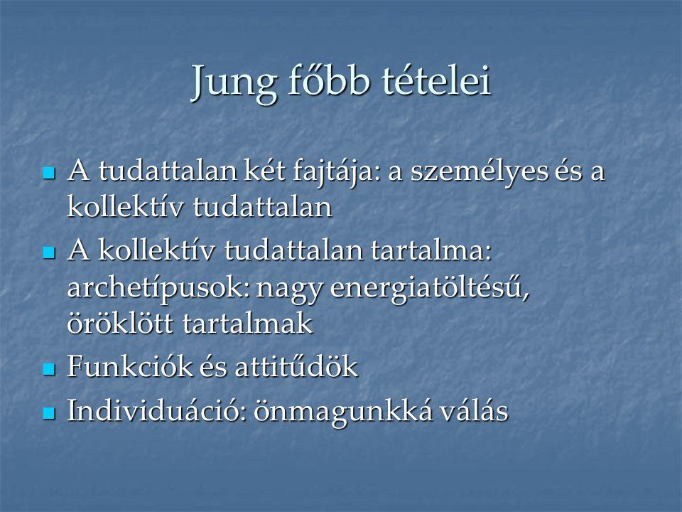 Jung főbb tételei A tudattalan két fajtája: a személyes és a kollektív tudattalan.