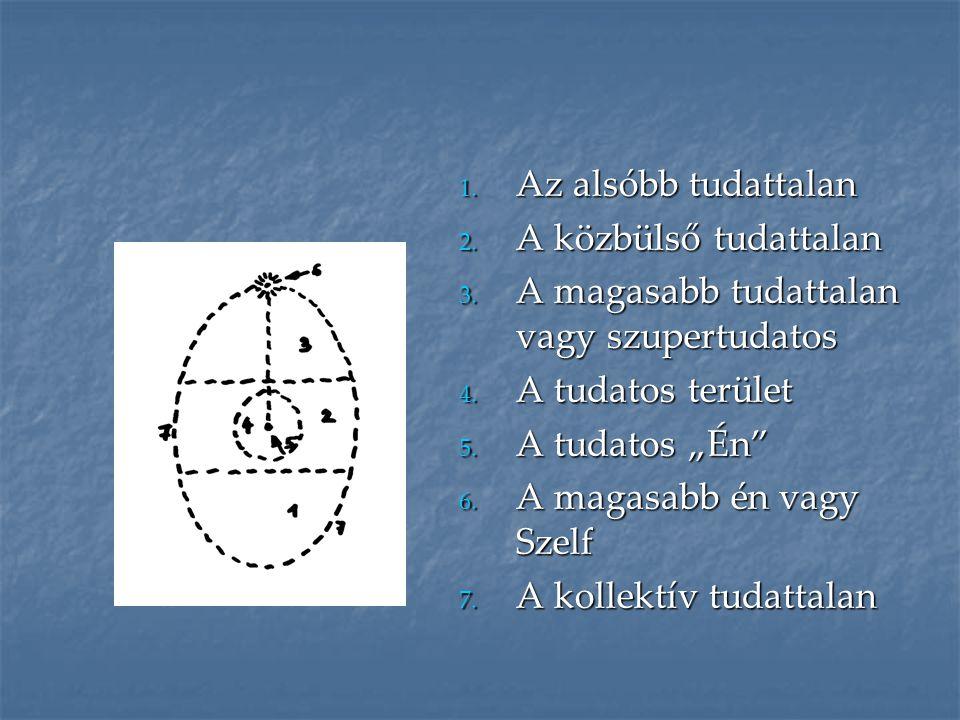 Az alsóbb tudattalan A közbülső tudattalan. A magasabb tudattalan vagy szupertudatos. A tudatos terület.