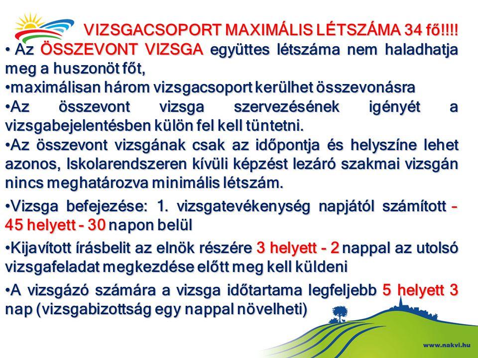 VIZSGACSOPORT MAXIMÁLIS LÉTSZÁMA 34 fő!!!!