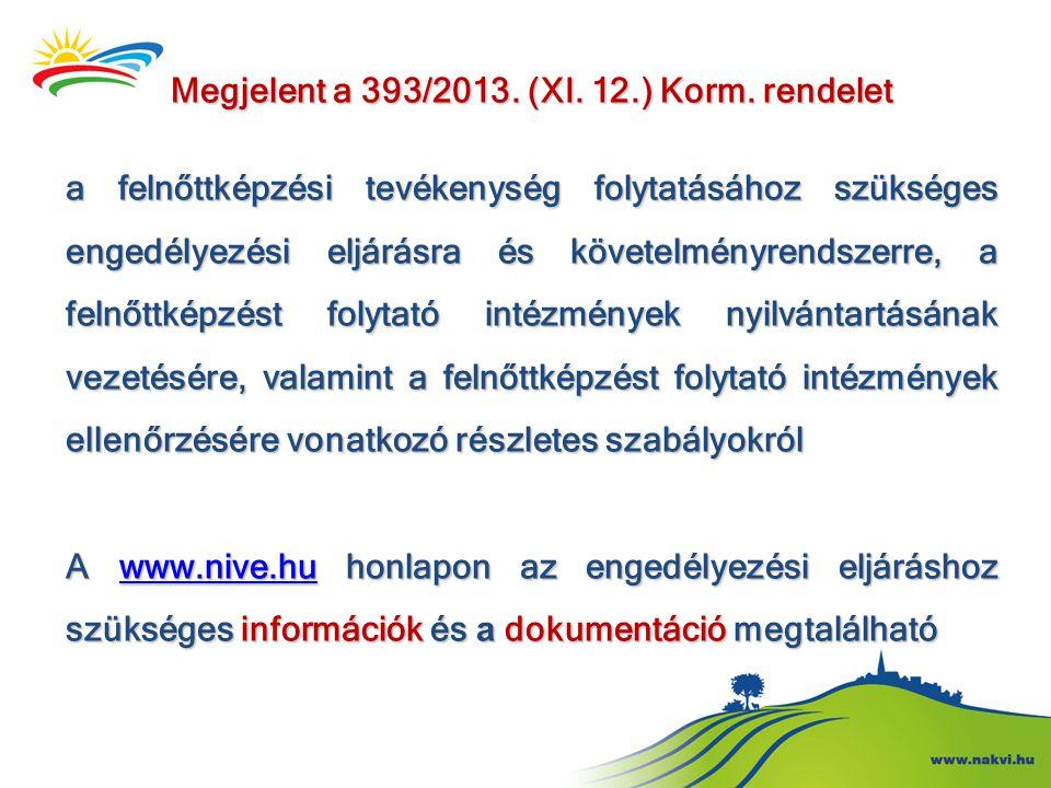 Megjelent a 393/2013. (XI. 12.) Korm. rendelet