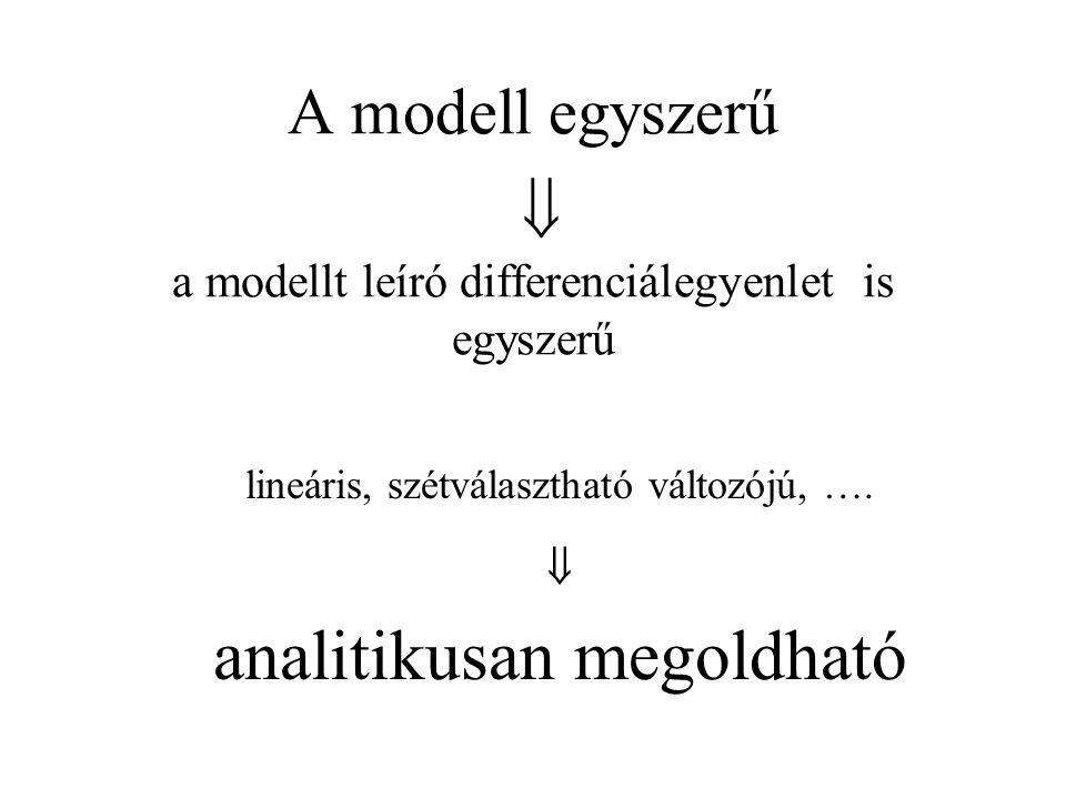 A modell egyszerű  a modellt leíró differenciálegyenlet is egyszerű