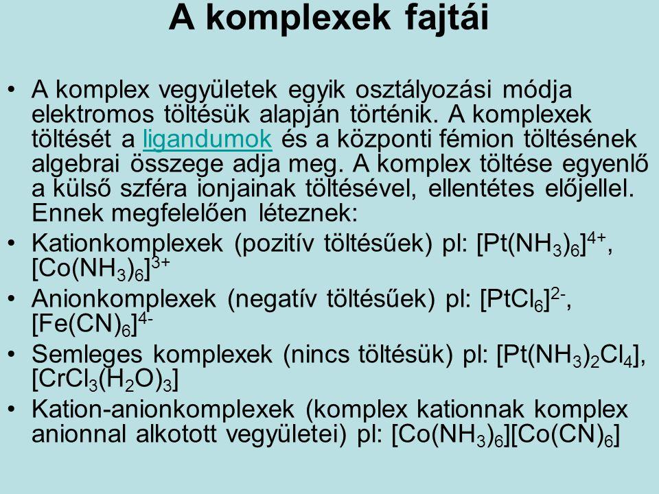 A komplexek fajtái