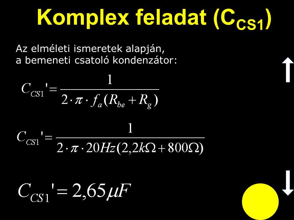 Komplex feladat (CCS1) Az elméleti ismeretek alapján, a bemeneti csatoló kondenzátor: