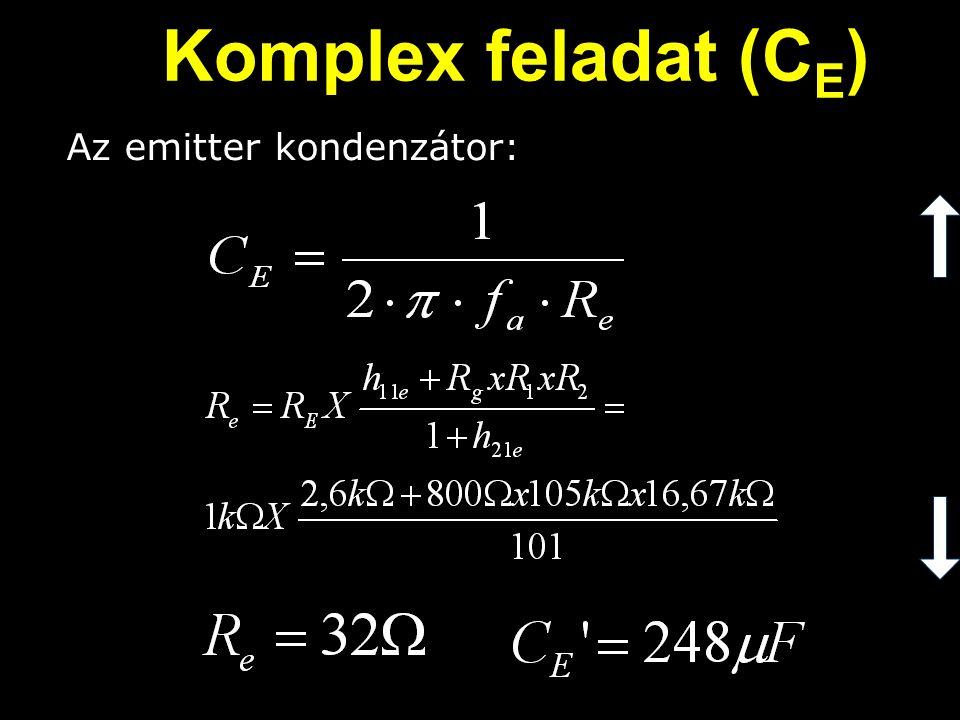 Komplex feladat (CE) Az emitter kondenzátor: