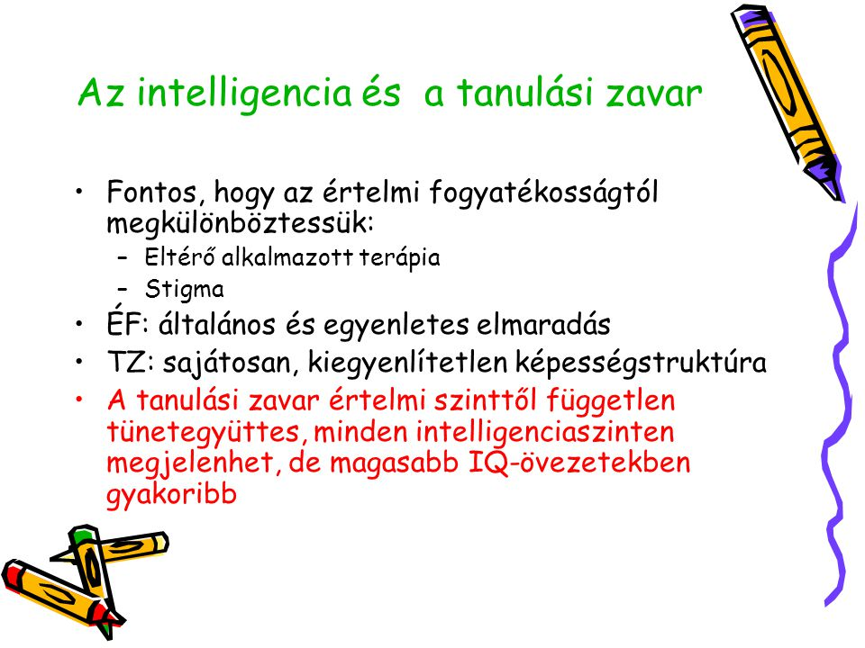 Az intelligencia és a tanulási zavar