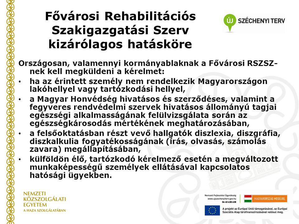 Fővárosi Rehabilitációs Szakigazgatási Szerv kizárólagos hatásköre