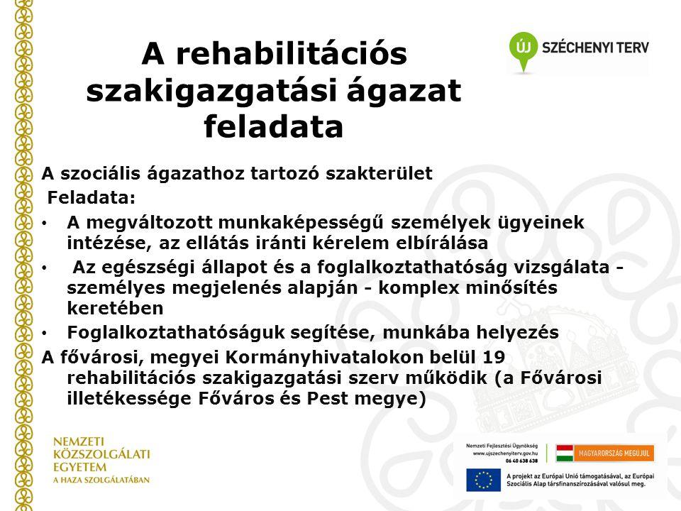 A rehabilitációs szakigazgatási ágazat feladata