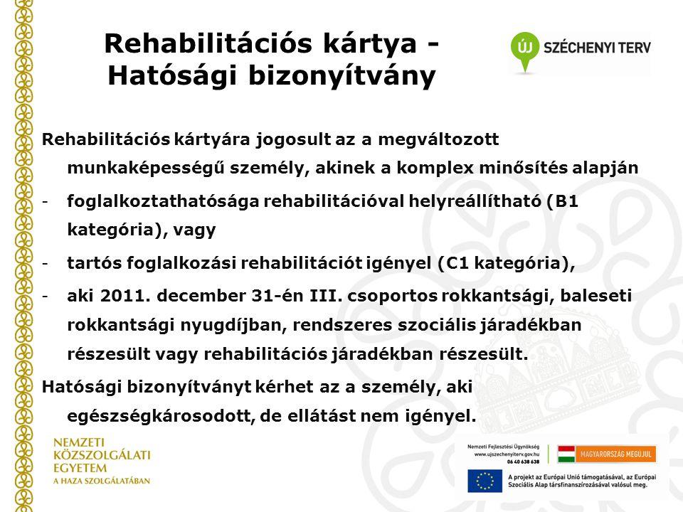 Rehabilitációs kártya - Hatósági bizonyítvány