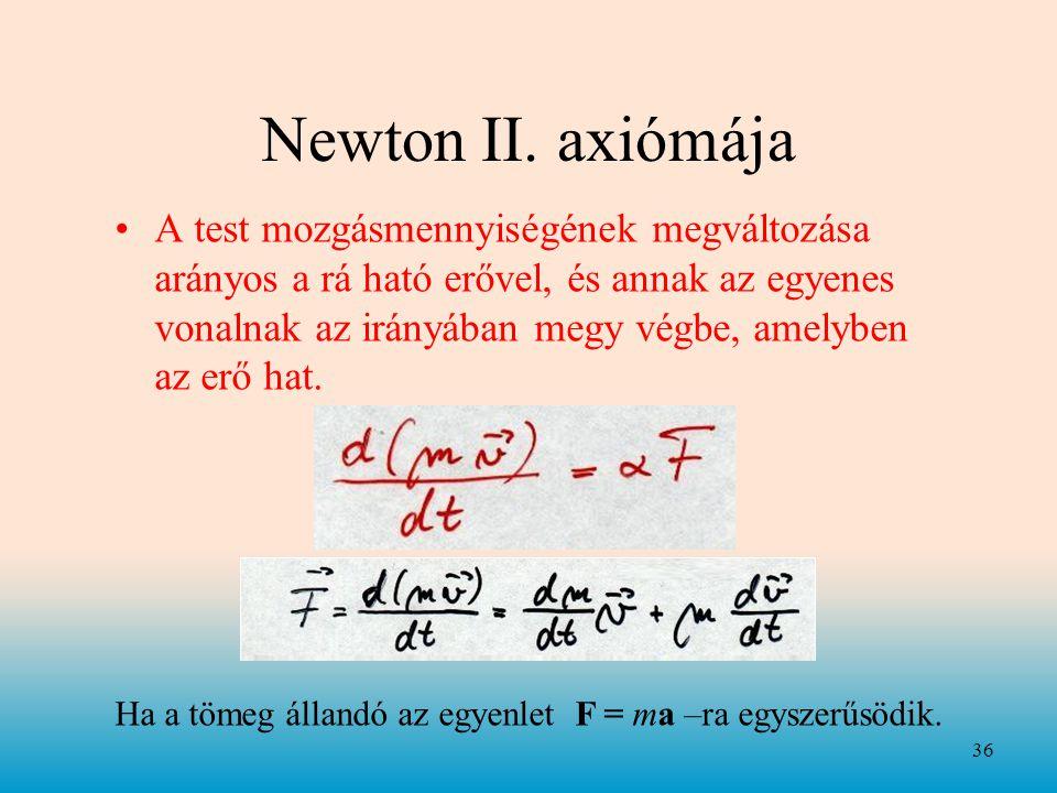 Ha a tömeg állandó az egyenlet F = ma –ra egyszerűsödik.