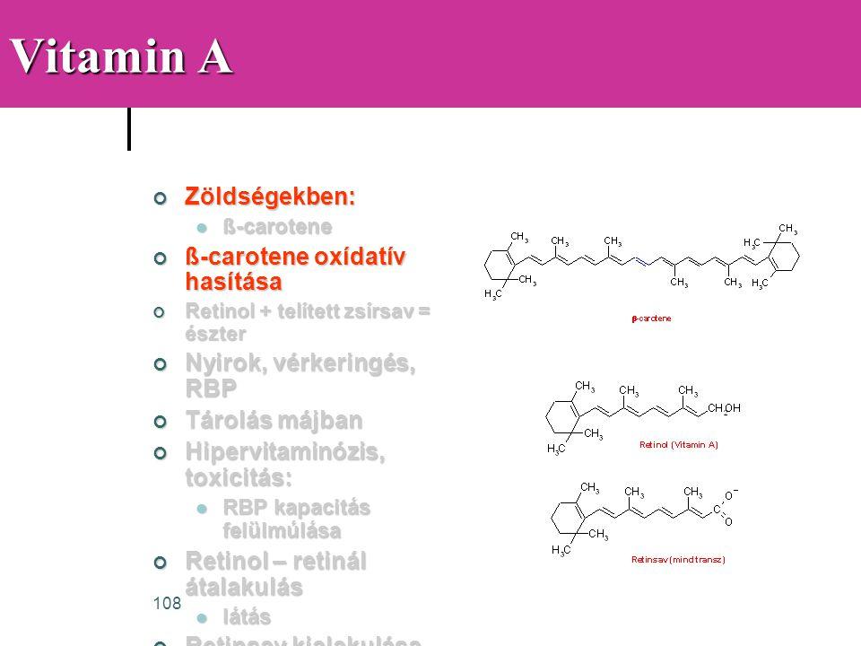 Vitamin A Zöldségekben: ß-carotene oxídatív hasítása