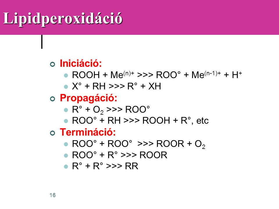 Lipidperoxidáció Iniciáció: Propagáció: Termináció:
