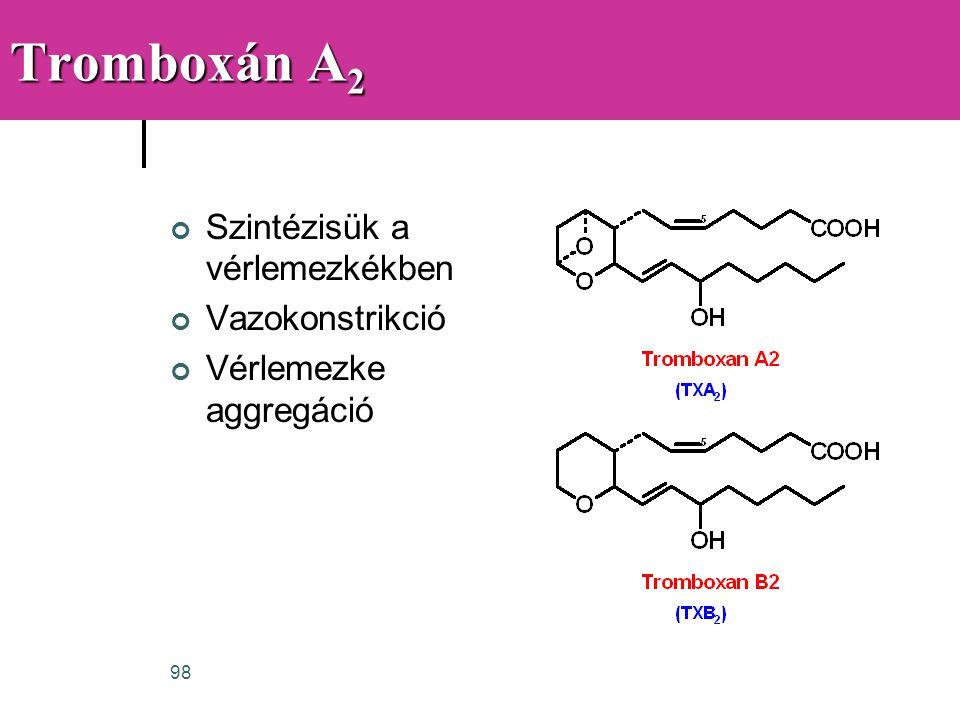 Tromboxán A2 Szintézisük a vérlemezkékben Vazokonstrikció