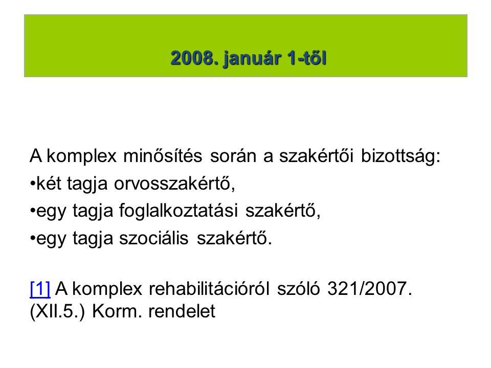 2008. január 1-től A komplex minősítés során a szakértői bizottság: két tagja orvosszakértő, egy tagja foglalkoztatási szakértő,