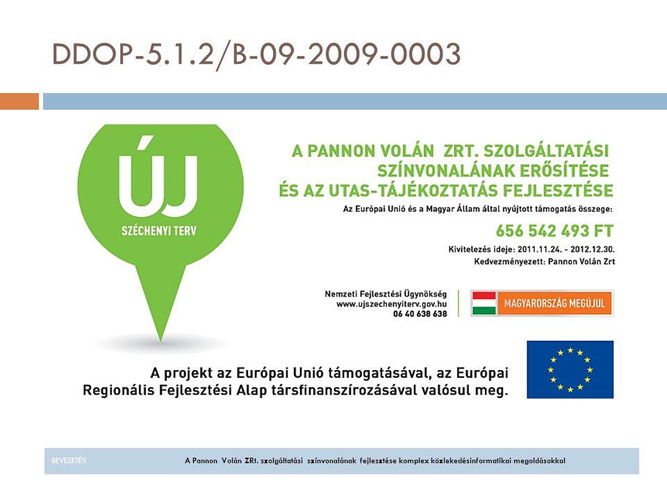 DDOP-5.1.2/B-09-2009-0003 BEVEZETÉS A Pannon Volán ZRt.