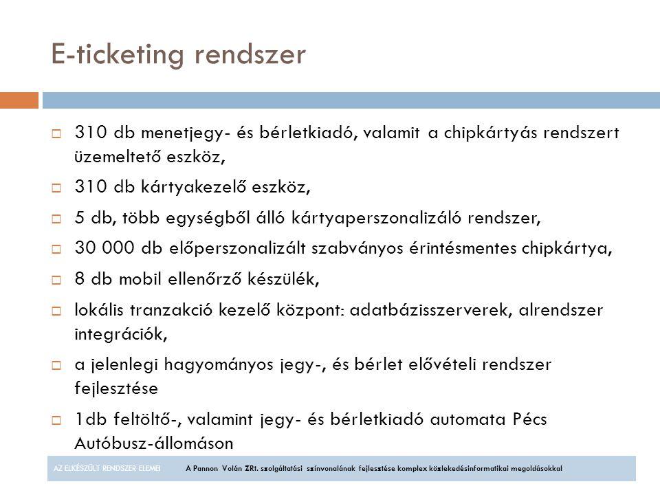 E-ticketing rendszer 310 db menetjegy- és bérletkiadó, valamit a chipkártyás rendszert üzemeltető eszköz,