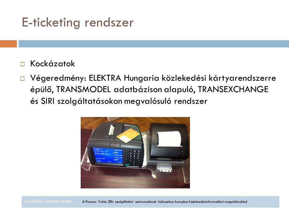 E-ticketing rendszer Kockázatok