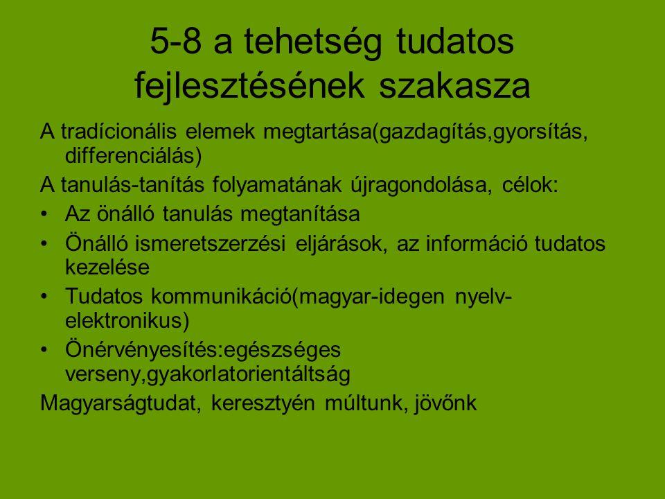 5-8 a tehetség tudatos fejlesztésének szakasza