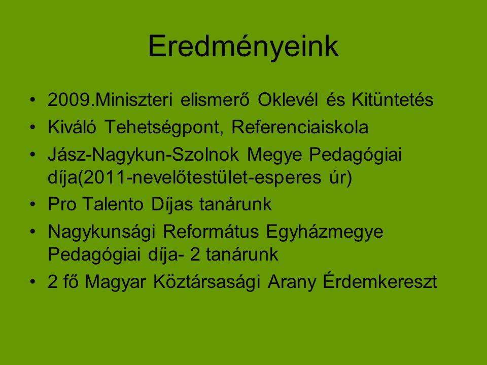 Eredményeink 2009.Miniszteri elismerő Oklevél és Kitüntetés