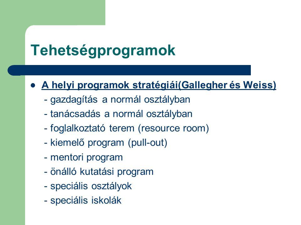 Tehetségprogramok A helyi programok stratégiái(Gallegher és Weiss)